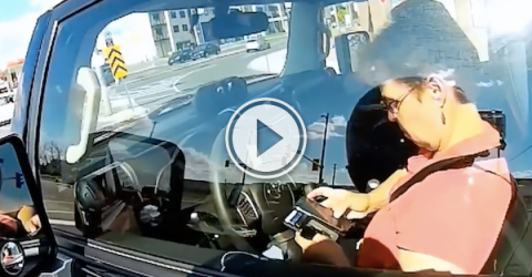 Lady gets caught texting and driving; has a little road rage! (Video)