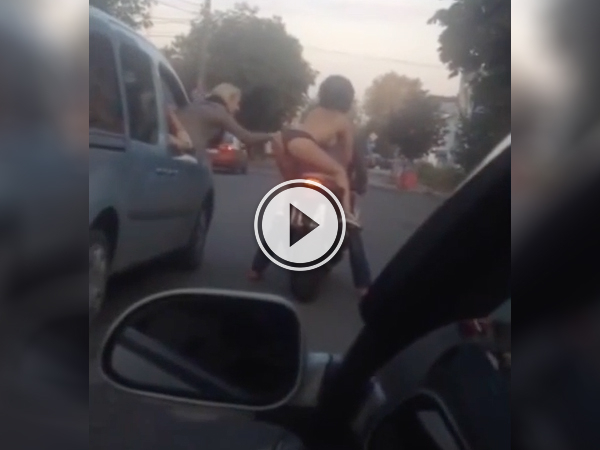 Topless Biker Rides Around city in just a thong (Video)