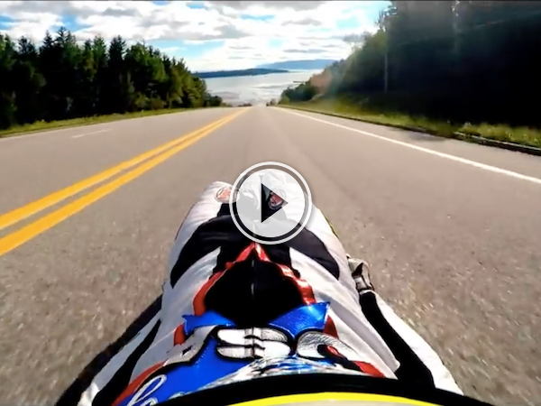 It takes some huge ones to street luge down this road in Quebec! (Video)