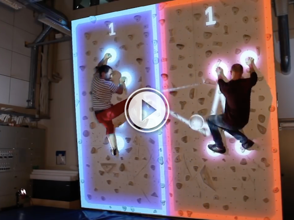 Augmented reality turns a climbing wall into a game of pong (Video)