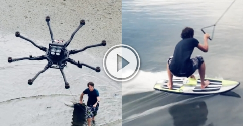 Who needs waves to surf when you have a drone (Video)