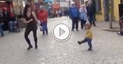 Adorable little girl tries to learn how to Irish dance (Video)