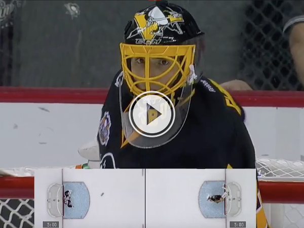 Goalie forgets his water bottle; opponent gratefully curls it to him! (Video)