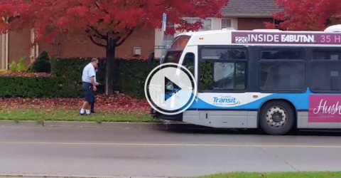 This bus driver is the hero that we deserve! (Video)