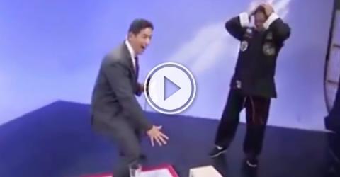 TV reporter accidentally ruins a demo for a martial artist (Video)