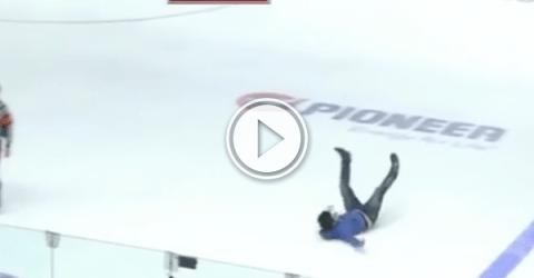 Ever seen a hockey fan climb over the glass? (Video)
