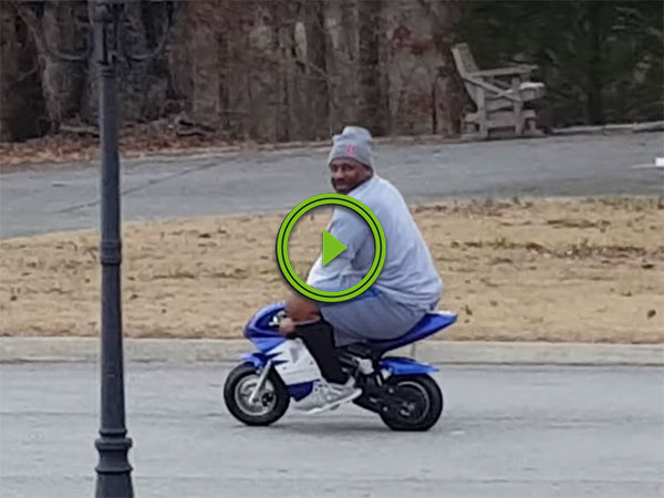 Man has hilarious reaction to neighbor's Minibike (Video)