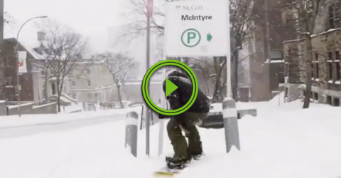 When the car's snowed in, the snowboard is a viable option (Video)