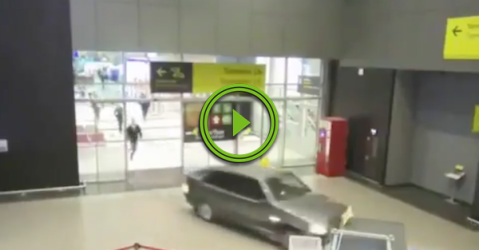 Russian dude uses his car to clear airport customs (Video)