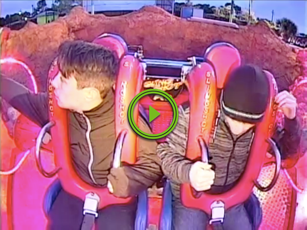Dude will sell you his soul, if you just let him off the ride (Video)