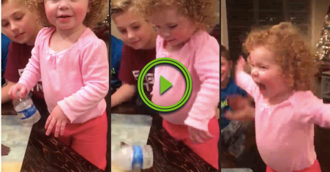 Adorable celebration when this girl does a bottle flip (Video)