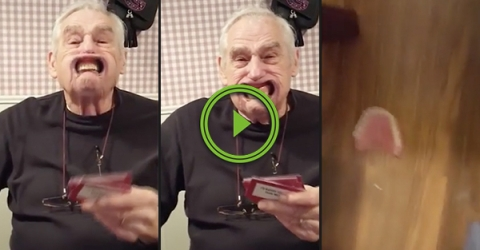 Grandpa loses his teeth during game of Speak Out