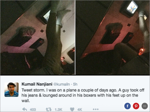 kumail nanjiani tweets plane passenger no pants 5 Kumail Nanjiani Tweets about nightmare plane passenger with no pants (8 Photos)