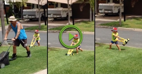 Little boy gets frustrated at his fake lawnmower (Video)