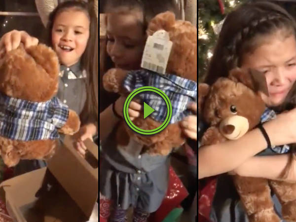Girls get teddy bears with grandpas voice (Video)