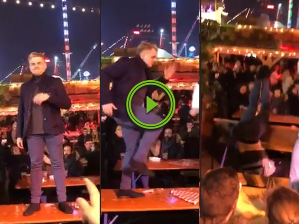 Guy dances on a table it doesn't end well (Video)