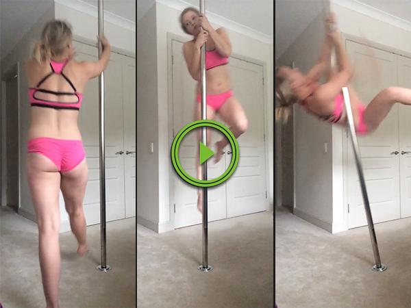 Pole dancer takes a tumble