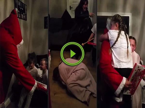 Soldier disguised as Santa surprises his kids (Video)
