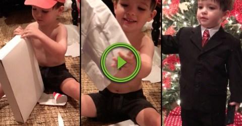 Adorable little boy gets a weatherman suit for christmas (Video)