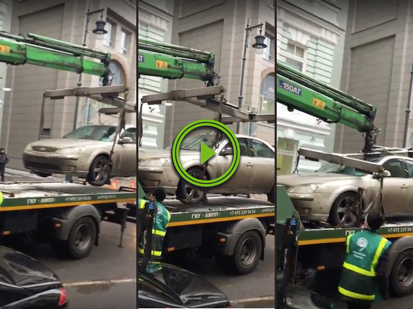 Tow truck driver's gentle touch lets him down in the end (Video)
