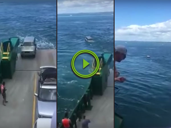 Unsecured car falls off the back of ferry (Video)