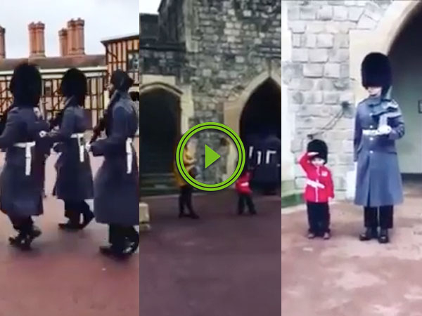 Queen's Guardsman poses for photo with toddler (Video)