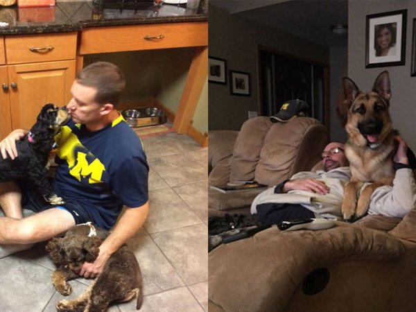 Dads cuddling with dogs (28 Photos)