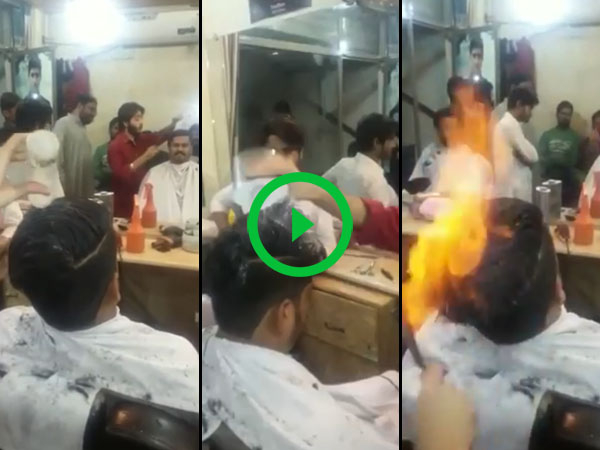 Guy in India use fire to cut hair (Video)