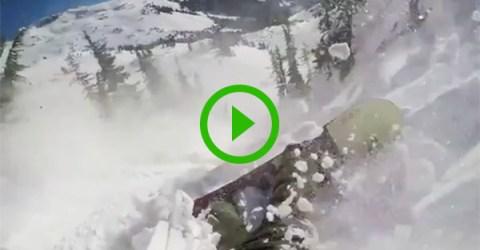 Guy survives insane avalanche (Video)