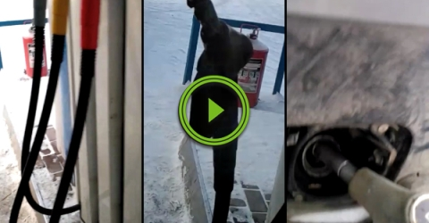 It's so cold in Russia that gas pump hoses freezes standing up