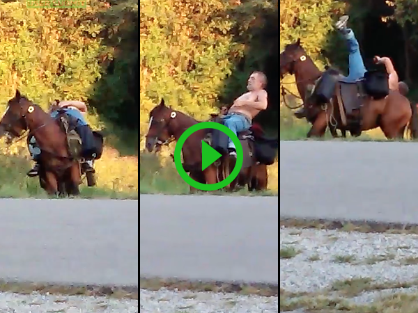 Man on horse is too drunk to ride and falls (Video)