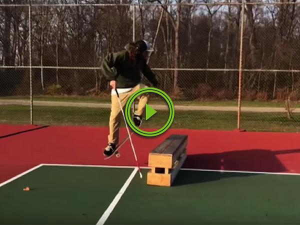 Blind skateboarder does some cool tricks