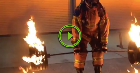 Firefighter drops an epic firebomb for his retirement (Video)