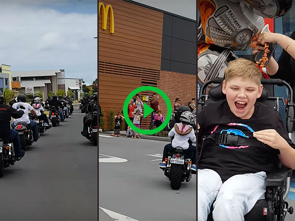 Disabled boy receives motorcycle ride-by for 13th birthday (Video)