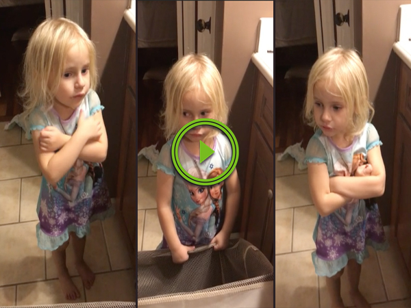 Little girl gets confronted about opening presents too early