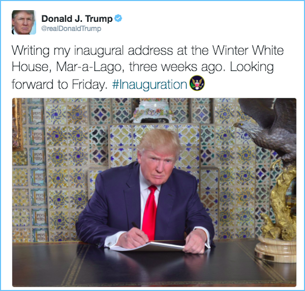 screen shot 2017 01 19 at 1 19 19 pm Twitter imagines what the President Elect is writing down for his inaugural address (20 Photos)