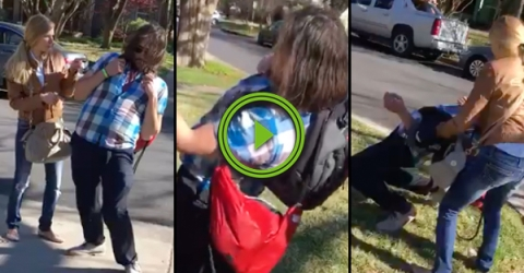Drunk guy can't stand up straight while wearing his backpack (Video)