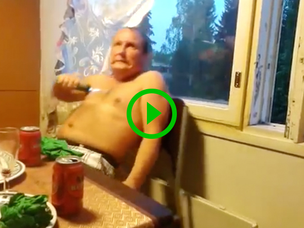 Two Russian guys tase themselves during dinner (Video)