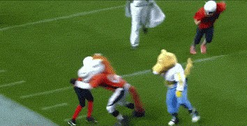 02 gmxcexo6 Upset about the Super Bowl? Mascots wrecking pee wee players will help (15 GIFs)