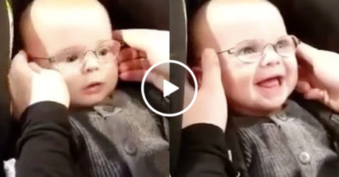 Adorable baby gets glasses, sees his mom clearly for the first time