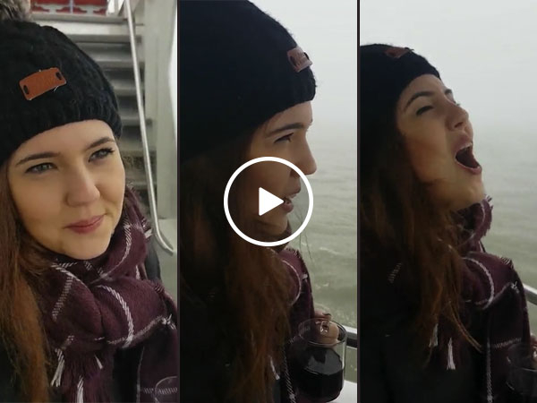 Girl thinks owls are chasing the boat (Video)