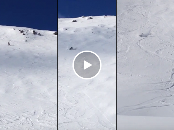 Kids film dad's wipeout on double black diamond ski slope (Video)