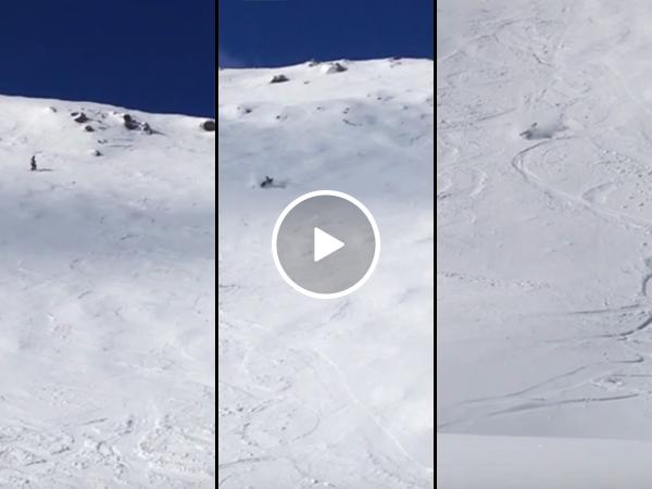 Kids film dad's wipeout on double black diamond ski slope (Video)
