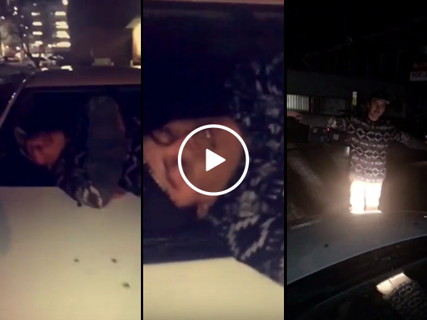 Man documents finding a drunk guy passed out on top of his car (Video)