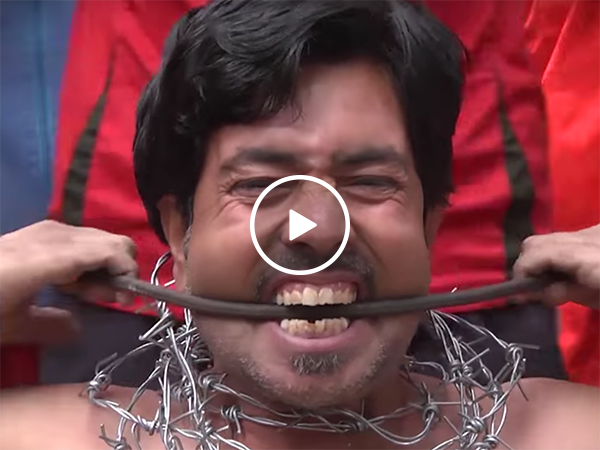 Pakistani man bends iron bars with his mouth (Video)