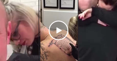 Man proposes to girlfriend with a tattoo on his back (Video)