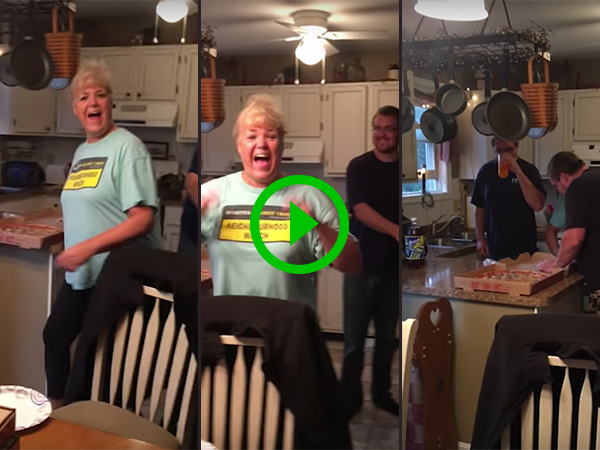 Couple surprise family with pizza box pregnancy reveal (Video)
