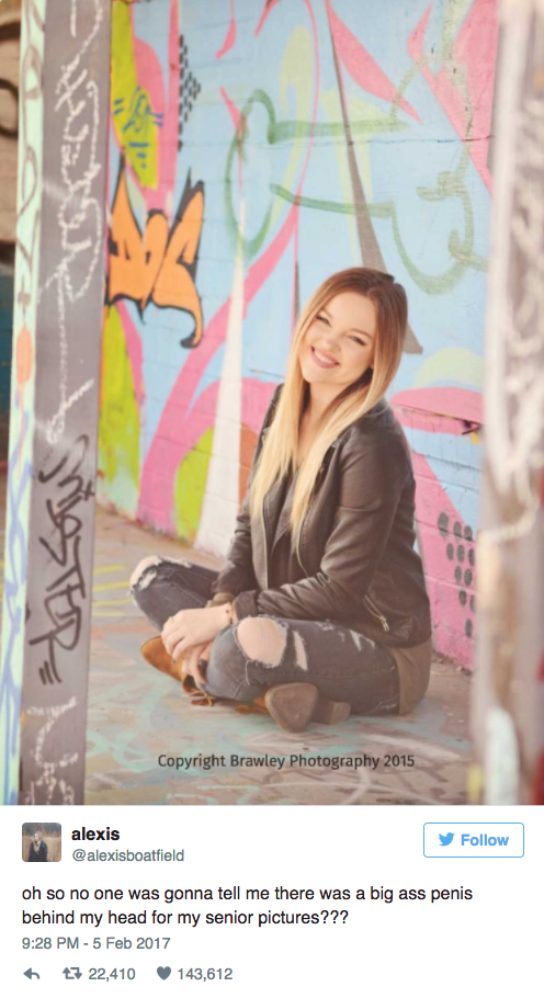 screen shot 2017 02 07 at 12 04 45 pm This girl's senior photo just got photobomed by some very NSFW graffiti (7 Photos)