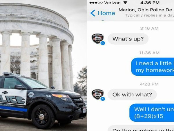 Ohio police department helps girl with math problem (7 Photos)