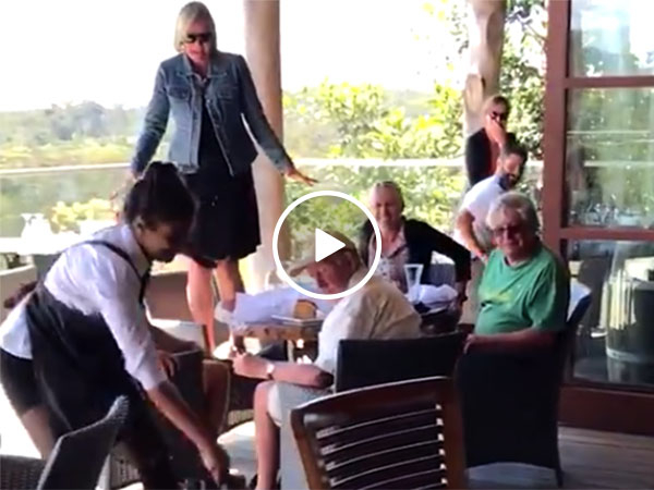 Waitress drags unwanted guest out of restaurant (Video)